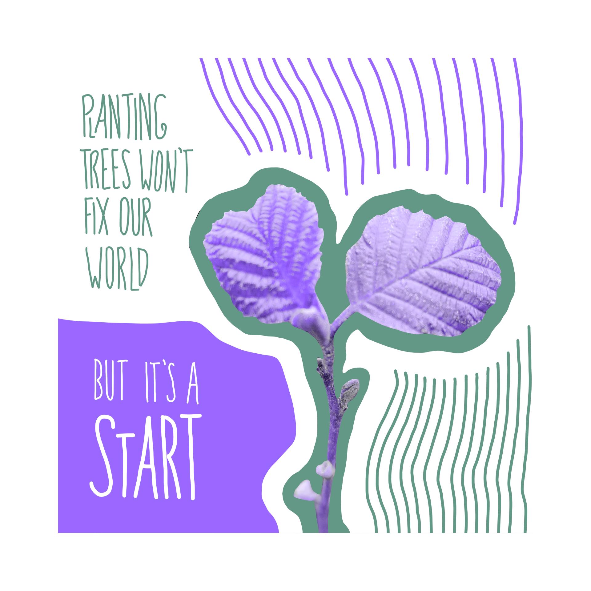 """illustration. quadratisch, weißer hintergrund. farben violett & grün. schrift links am bildrand: """"planting trees won't fix our world. but it's a start"""". daneben eine kleine junge pflanze & ein paar gestaltungselemente in form von flächen & wellenförmigen linien"""