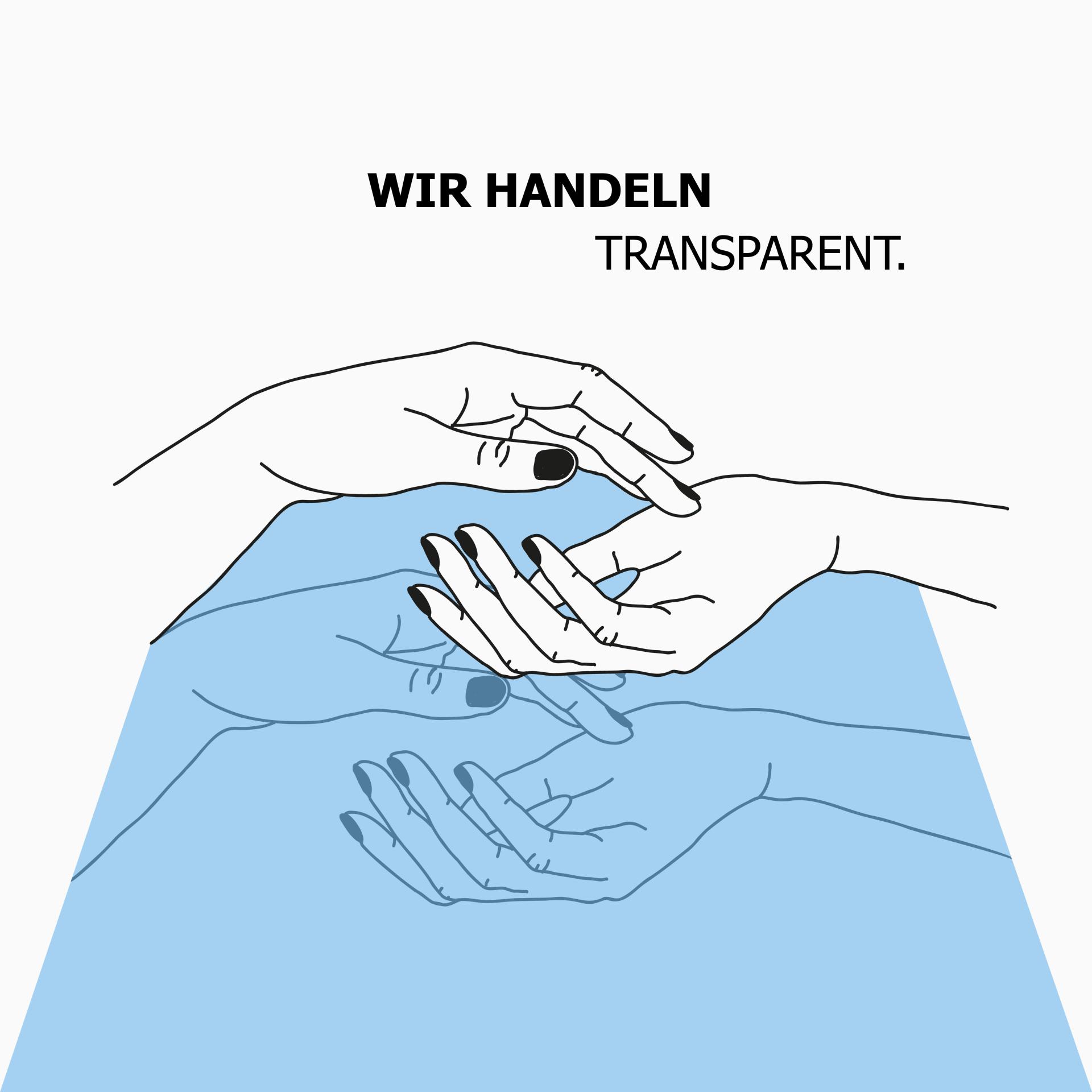 """grafik zwei hände, darunter eine hellblaue fläche mit denselben händen heller & text """"wir handeln transparent"""""""