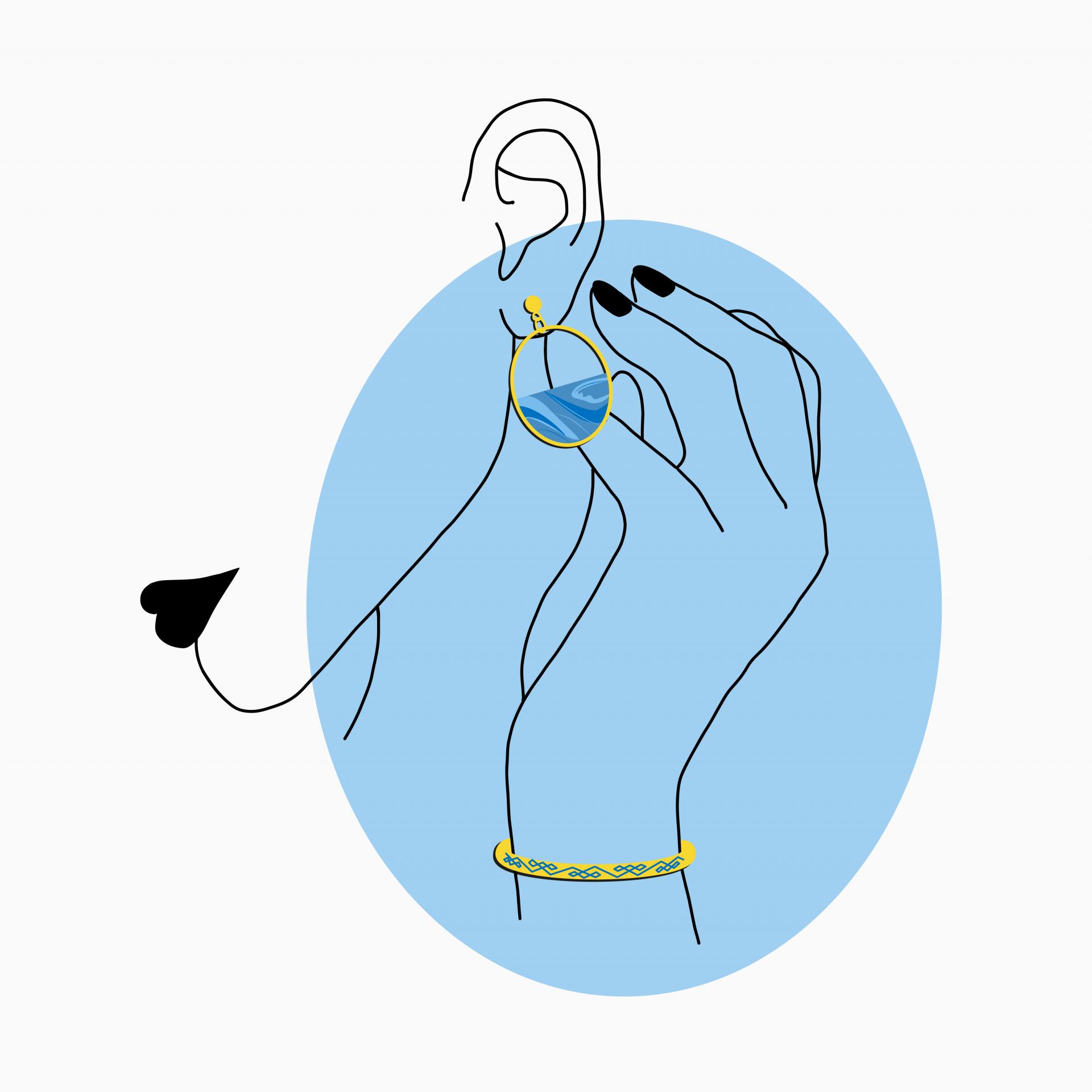 minimalistische zeichnung von frauenkopf & hand mit gold-blauen ohrringen & armband
