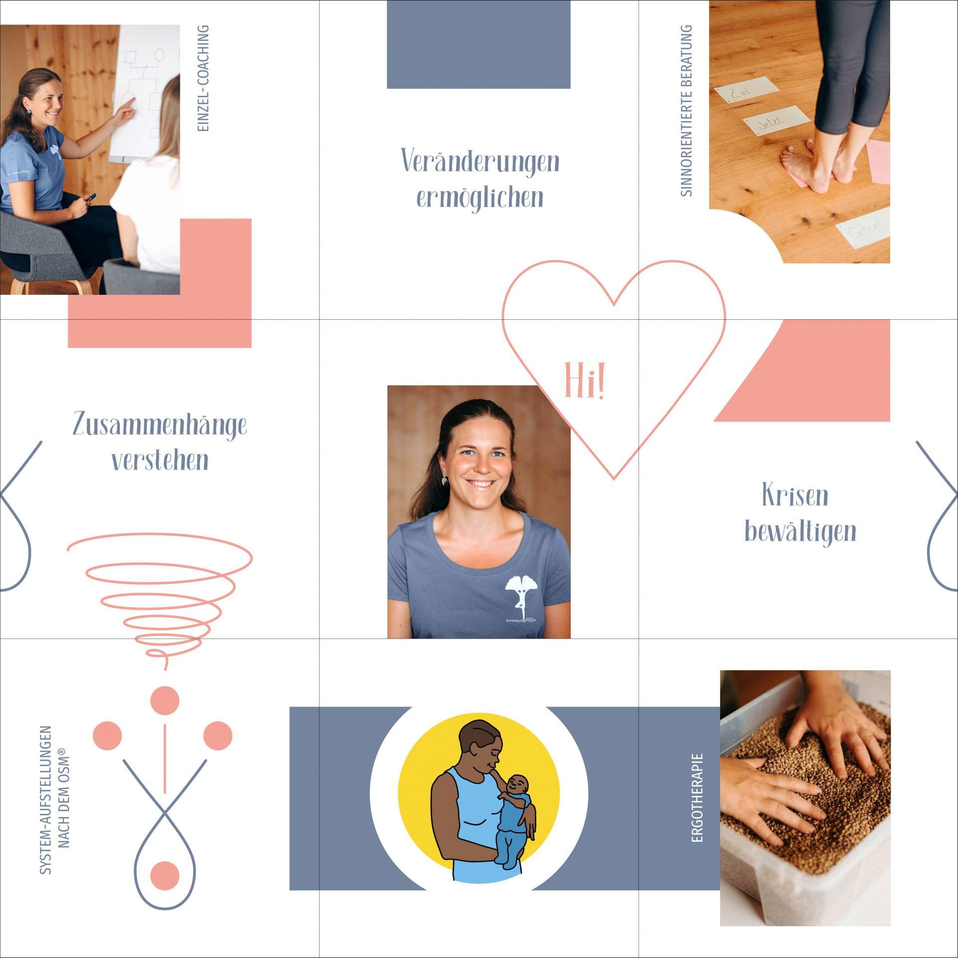 instagram feed bilder für claudia patka, verschiedene grafiken, fotos & schlagwörter zu den themen coaching, ergotherapie, aufstellungen