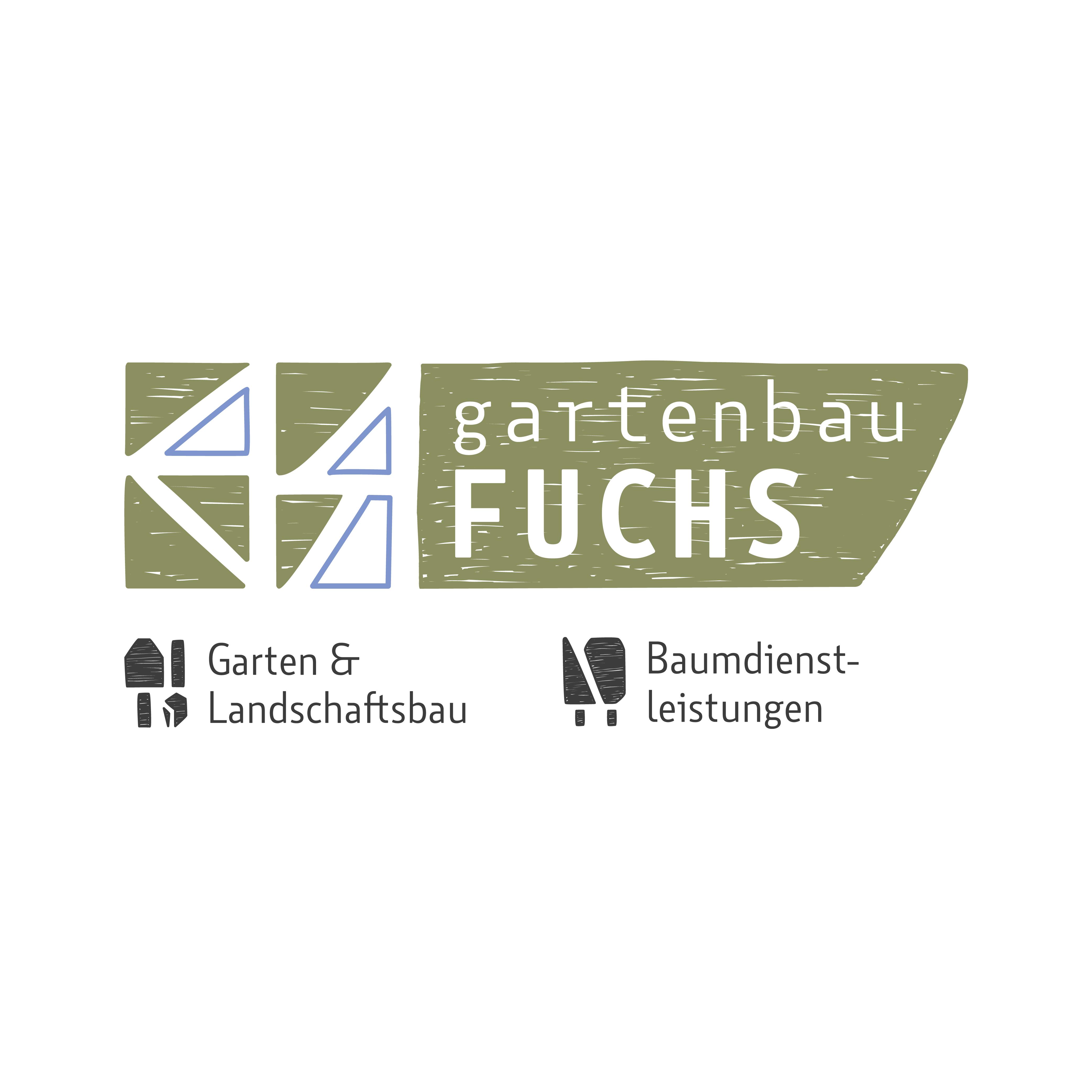 logo gartenbau fuchs, grüne gezeichnete flächen (angelehnt an natursteinmauer) & piktogramme zu den bereichen garten- & landschaftsbau sowie baumdienstleistungen