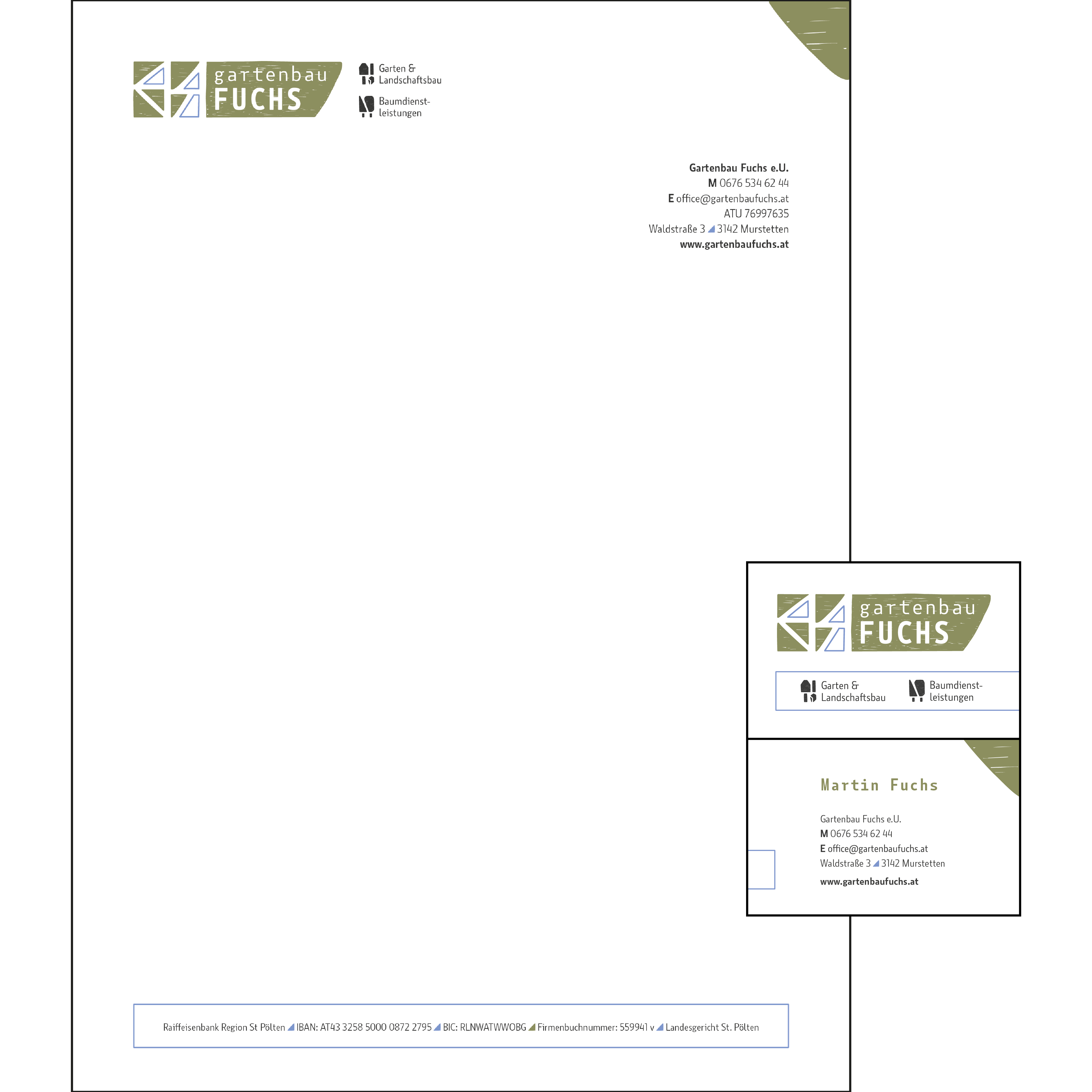 gartenbau fuchs briefpapier & visitenkarten (vorder- & rückseite) mit allen wichtigen infos.