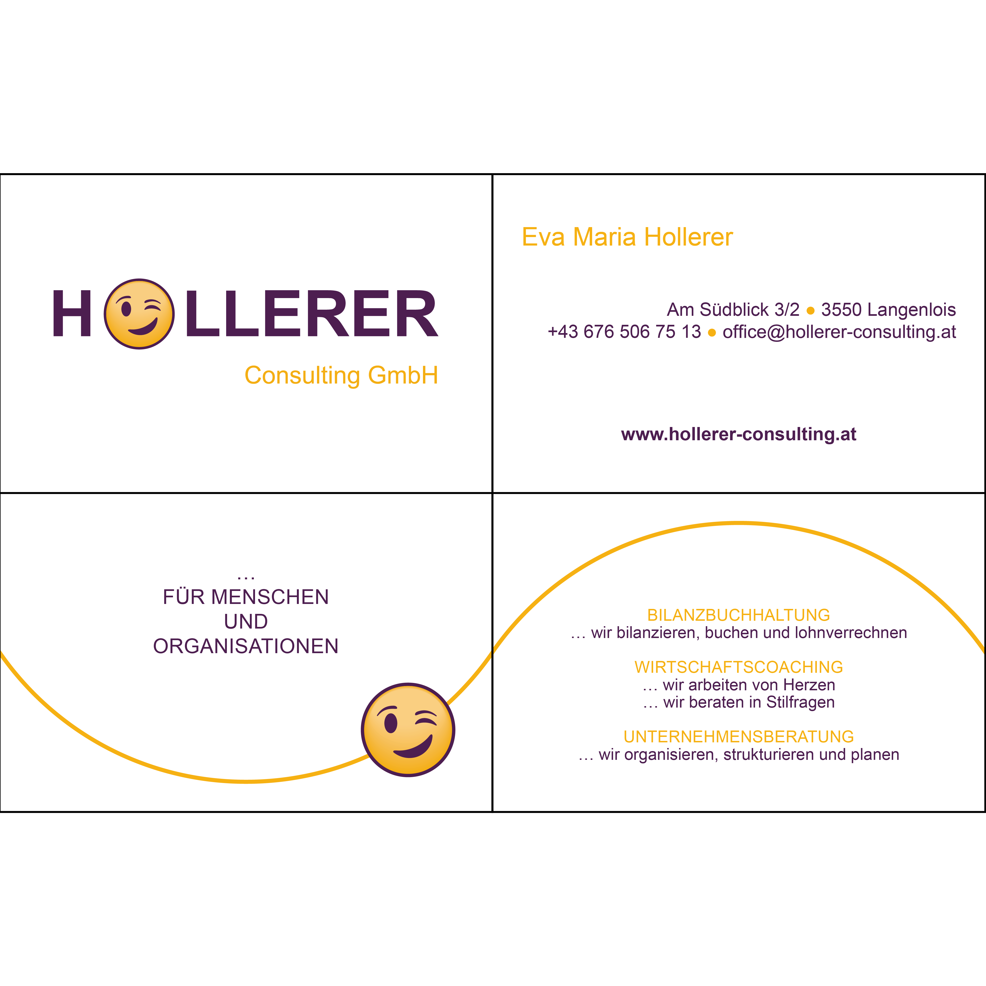 hollerer consulting visitenkarte, vierseitig. info zu kontaktdaten, bilanzbuchhaltung, wirtschaftscoaching und unternehmensberatung