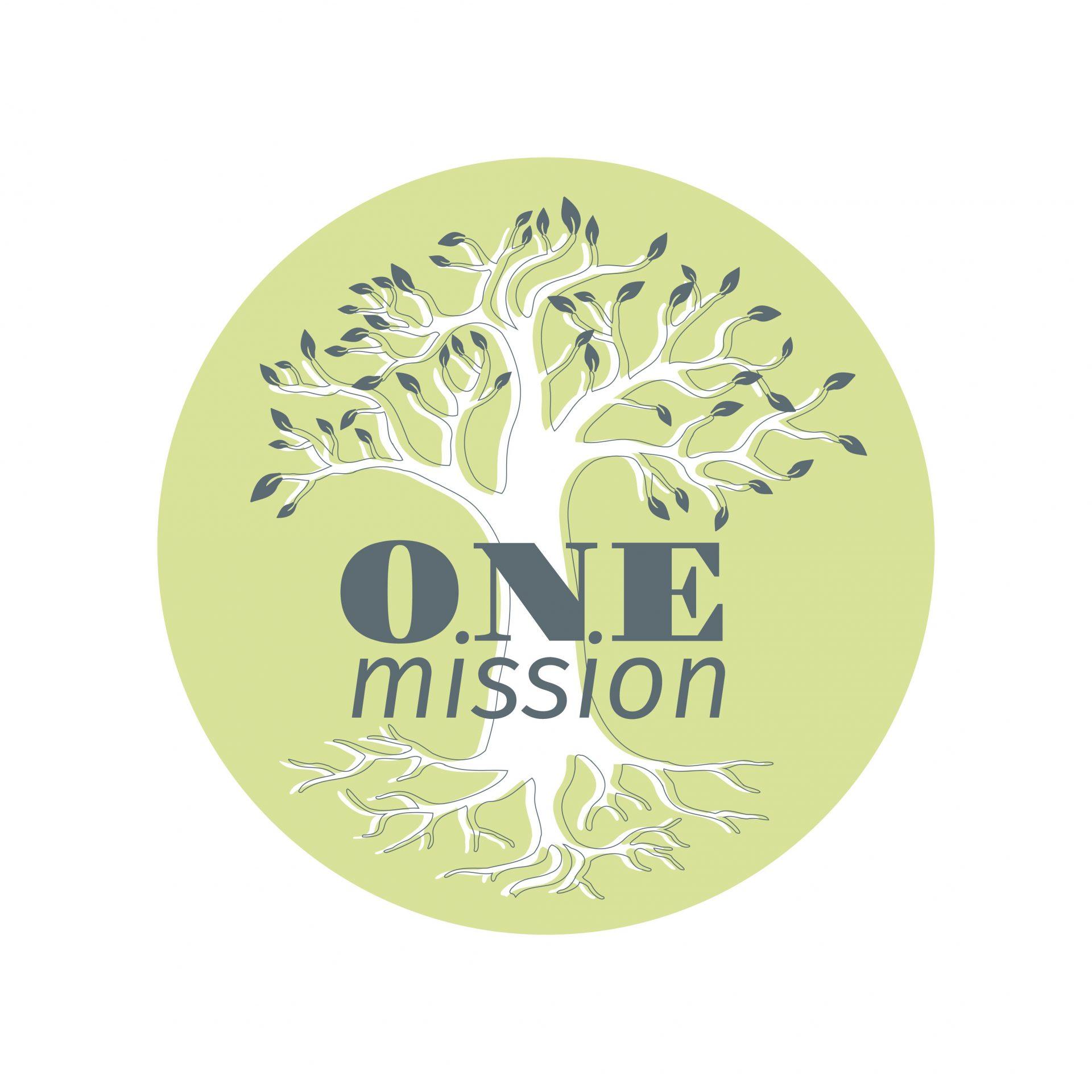 logo one mission. schriftzug & baum inkl. wurzeln in einem kreis